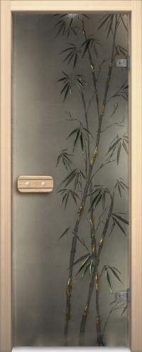 Двери для сауны Арт серия с фьюзингом бамбук