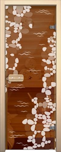 Двери для сауны Арт с рисунком ГлассДжет Ручей