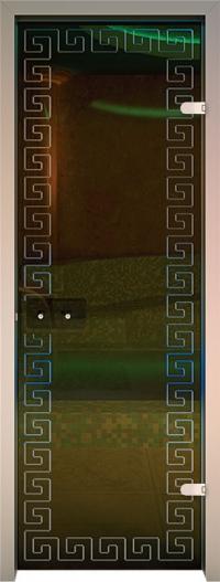 Двери для сауны Хамам Бронза ID-134 алюминий меандр