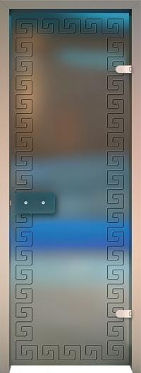 Двери для сауны Хамам Матовое бесцветное стекло меандр