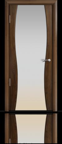 Дверь Мильяна Омега 1 Американский орех Белое стекло