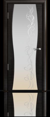 Дверь Мильяна Омега 1 Эбен Белое стекло  рисунок Фантазия