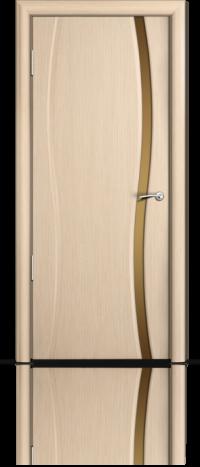 Дверь Мильяна Омега 1 Беленый дуб Бронзовое узкое стекло