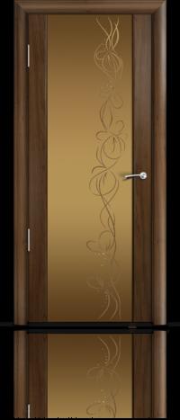 Дверь Мильяна Омега 2 Американский орех Бронзовое стекло рисунок Фантазия