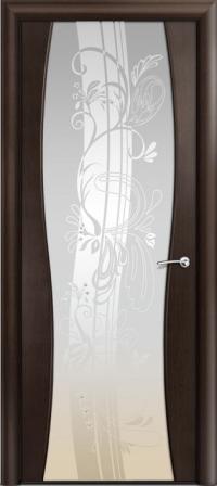Дверь Мильяна Омега 1 Венге Белое стекло рисунок Мотив