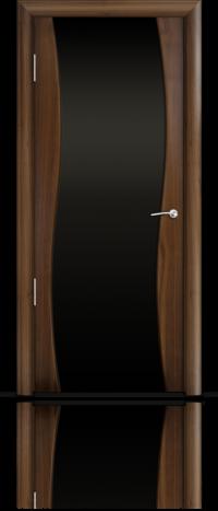 Дверь Мильяна Омега  Американский орех Черное стекло