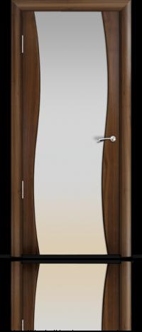 Дверь Мильяна Омега  Американский орех Белое стекло