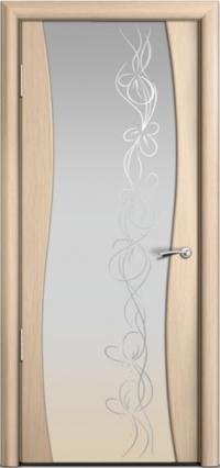 Дверь Мильяна Омега Беленый дуб Белое стекло Рисунок Фантазия
