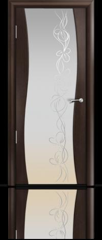 Дверь Мильяна Омега  Венге Белое стекло  рисунок Фантазия