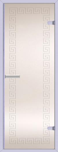 Двери для сауны Хамам матовая меандр