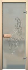 Двери для сауны Арт с гравировкой Нимфа Красный хром