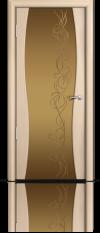 Дверь Мильяна Омега 1 Беленый дуб Бронзовое стекло рисунок Фантазия
