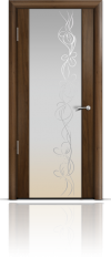 Дверь Мильяна Омега 2 Американский орех Белое стекло рисунок Фантазия