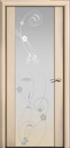 Дверь Мильяна Омега 2 Беленый дуб Белое стекло рисунок Фиалка