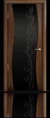 Дверь Мильяна Омега  Американский орех Черное стекло рисунок Фантазия