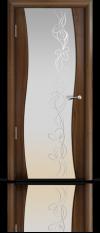 Дверь Мильяна Омега  Американский орех Белое стекло  рисунок Фантазия