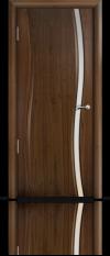 Дверь Мильяна Омега  Американский орех Белое узкое стекло
