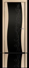 Дверь Мильяна Омега Беленый дуб  Черное стекло рисунок Фантазия