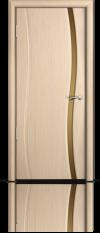 Дверь Мильяна Омега Беленый дуб  Бронзовое узкое стекло