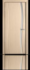 Дверь Мильяна Омега  Беленый дуб  Белое узкое стекло