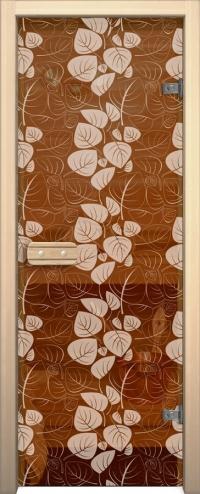 Двери для сауны Арт с рисунком ГлассДжет Белые листья