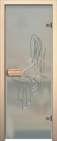 Двери для сауны Арт с гравировкой Нимфа хром