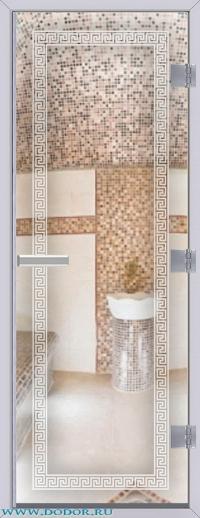 Дверь для сауны Хамам 60G бесцветная меандр