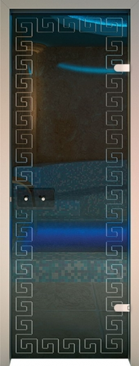 Двери для сауны Хамам Прозрачное стекло меандр