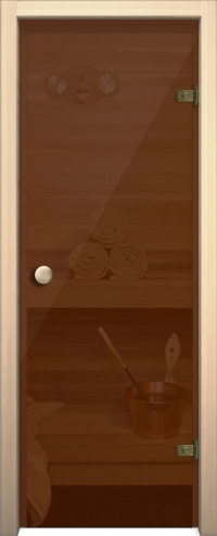 Стеклянная дверь для сауны АКМА light бронза Ручка кноб