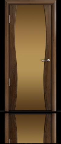 Дверь Мильяна Омега 1 Американский орех Бронзовое стекло