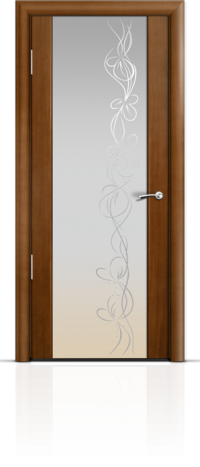 Дверь Мильяна Омега 2 Анегри Белое стекло рисунок Фантазия