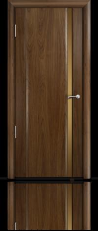 Дверь Мильяна Омега 2 Американский орех Бронзовое узкое стекло