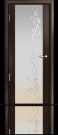 Дверь Мильяна Омега 2 Венге Белое стекло рисунок Фантазия
