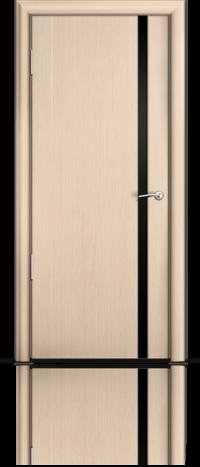 Дверь Мильяна Омега 2 Беленый дуб Черное узкое стекло