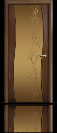Дверь Мильяна Омега  Американский орех Бронзовое стекло рисунок Фантазия