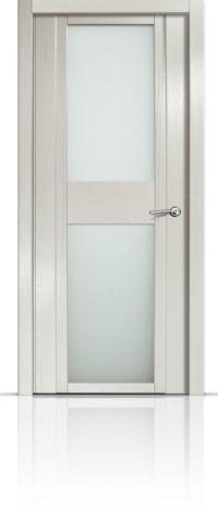 Дверь Мильяна Qdo D Ясень жемчуг Белое стекло