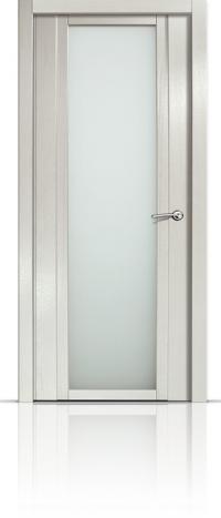 Дверь Мильяна Qdo X Ясень жемчуг Белое стекло