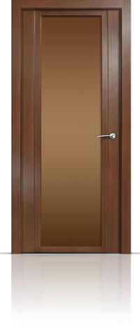 Дверь Мильяна Qdo X Дуб палисандр Бронзовое стекло