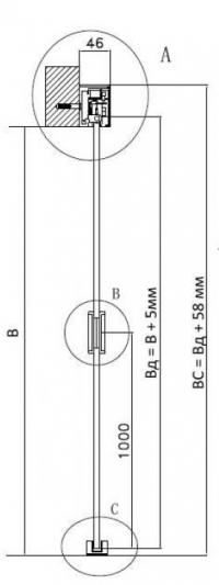 Детальная схема размеров раздвижной системы Glasstur
