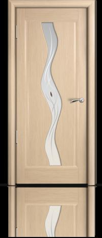 Дверь Мильяна серия Стелла модель Веста Беленый дуб модельное стекло