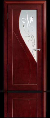Дверь Мильяна серия Стелла модель Яна Красное дерево модельное стекло