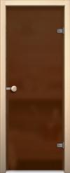 Стеклянная дверь для сауны АКМА light бронза матовая Ручка кноб-магнит Хром