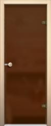 Стеклянная дверь для сауны АКМА light бронза матовая Ручка кноб-магнит Оливка