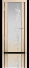 Дверь Мильяна Омега 2 Беленый дуб Белое стекло рисунок Фантазия