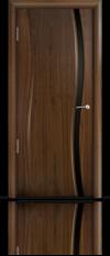 Дверь Мильяна Омега  Американский орех Черное узкое стекло