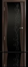 Дверь Мильяна Омега Венге Черное стекло  рисунок Фантазия