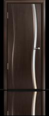 Дверь Мильяна Омега  Венге Белое узкое стекло