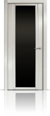 Дверь Мильяна Qdo X Ясень жемчуг Черное стекло